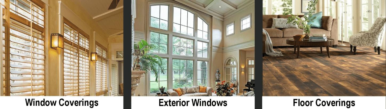 Windw coverings, windows, and floor coverings